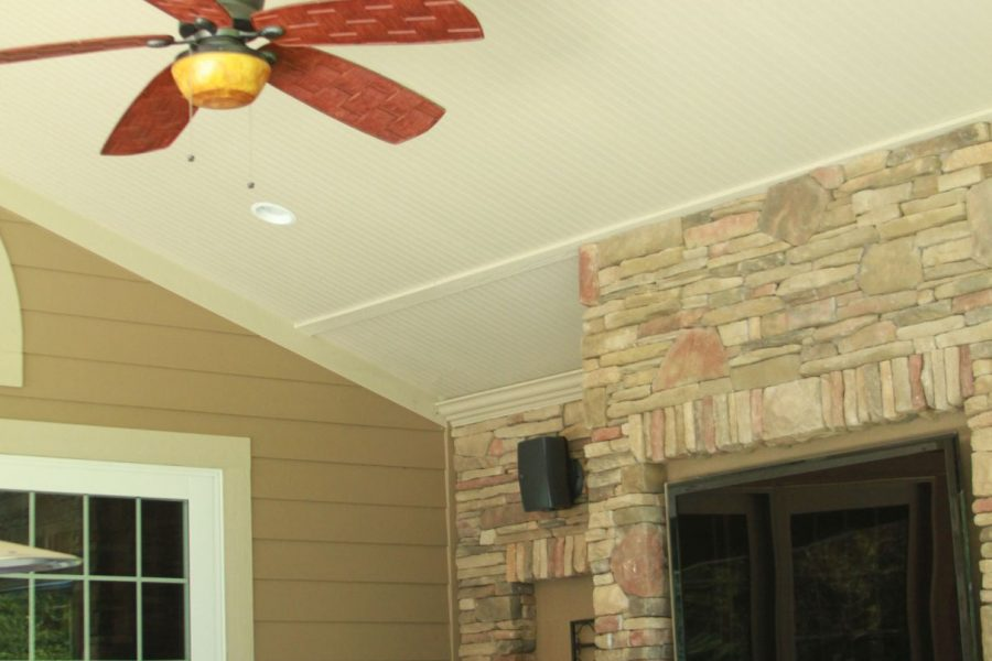 Exterior painting of covered porch and shiplap ceiling
